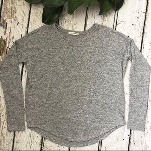 rag & bone Grey Slub Long Sleeve Small T-shirt